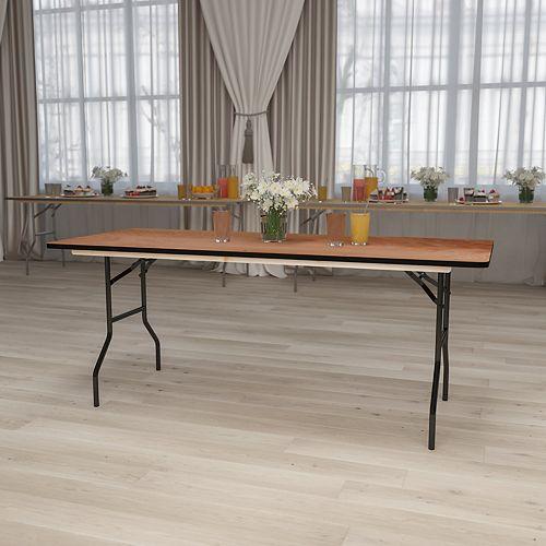 Table de banquet pliante rectangulaire de 30 x 72 po en bois avec plateau de finition lustrée
