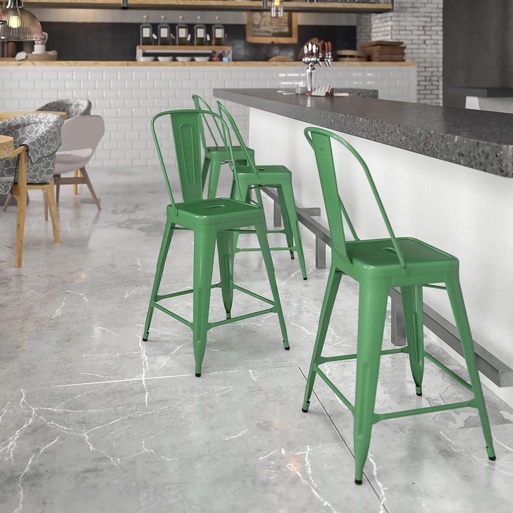 "Flash Furniture ""24"""" Green Metal Outdoor Stool"""