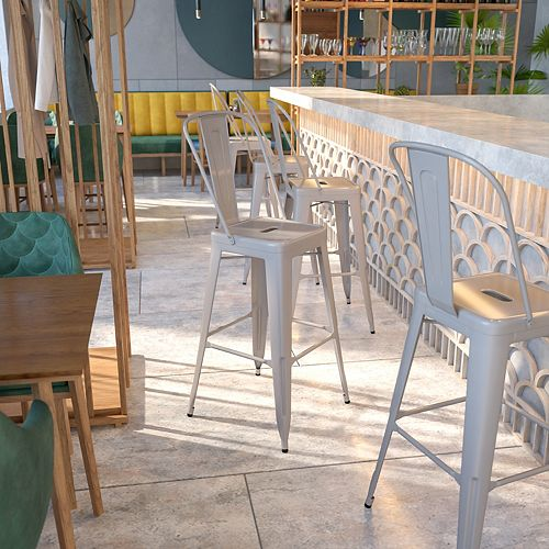 """30"""" Silver Metal Outdoor Stool"""
