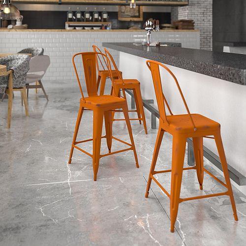 Distressed Orange Metal Stool