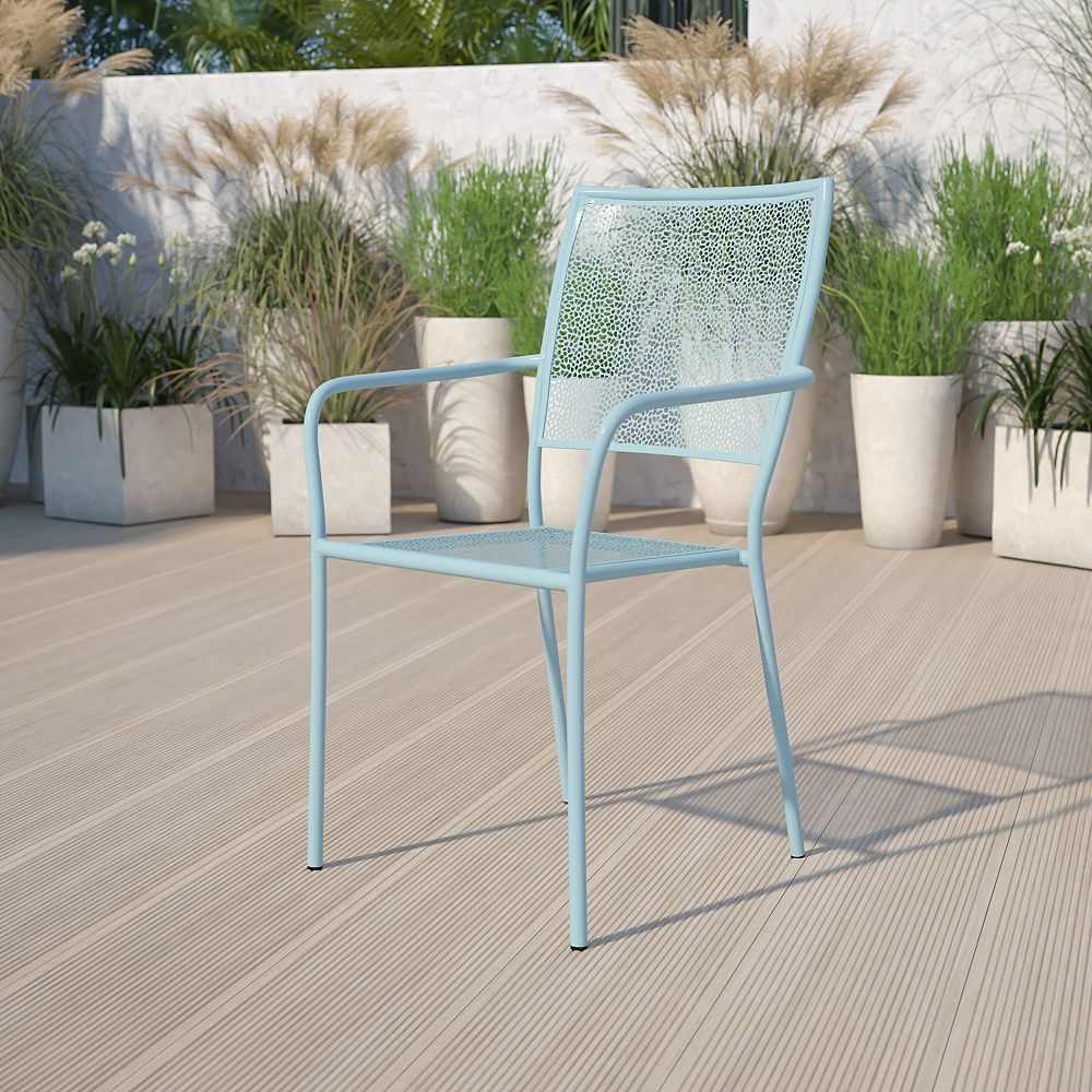 Flash Furniture Blue Square Back Patio Chair