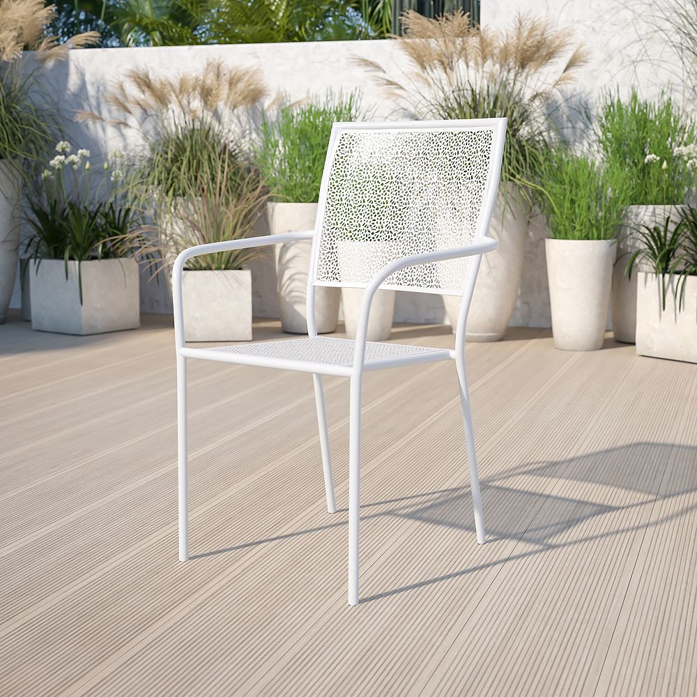 Flash Furniture White Square Back Patio Chair