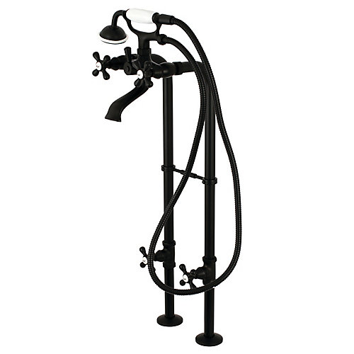 Traditional 3-Handle Floor Mount Claw Foot Tub Faucet with Handshower Combo Set in Matte Black