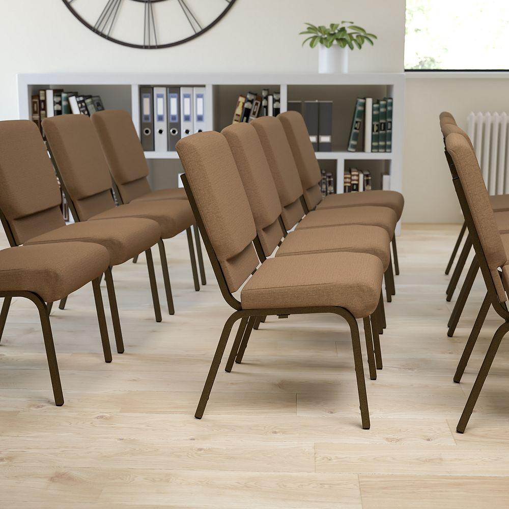 Flash Furniture Chaise d'église en tissu brun