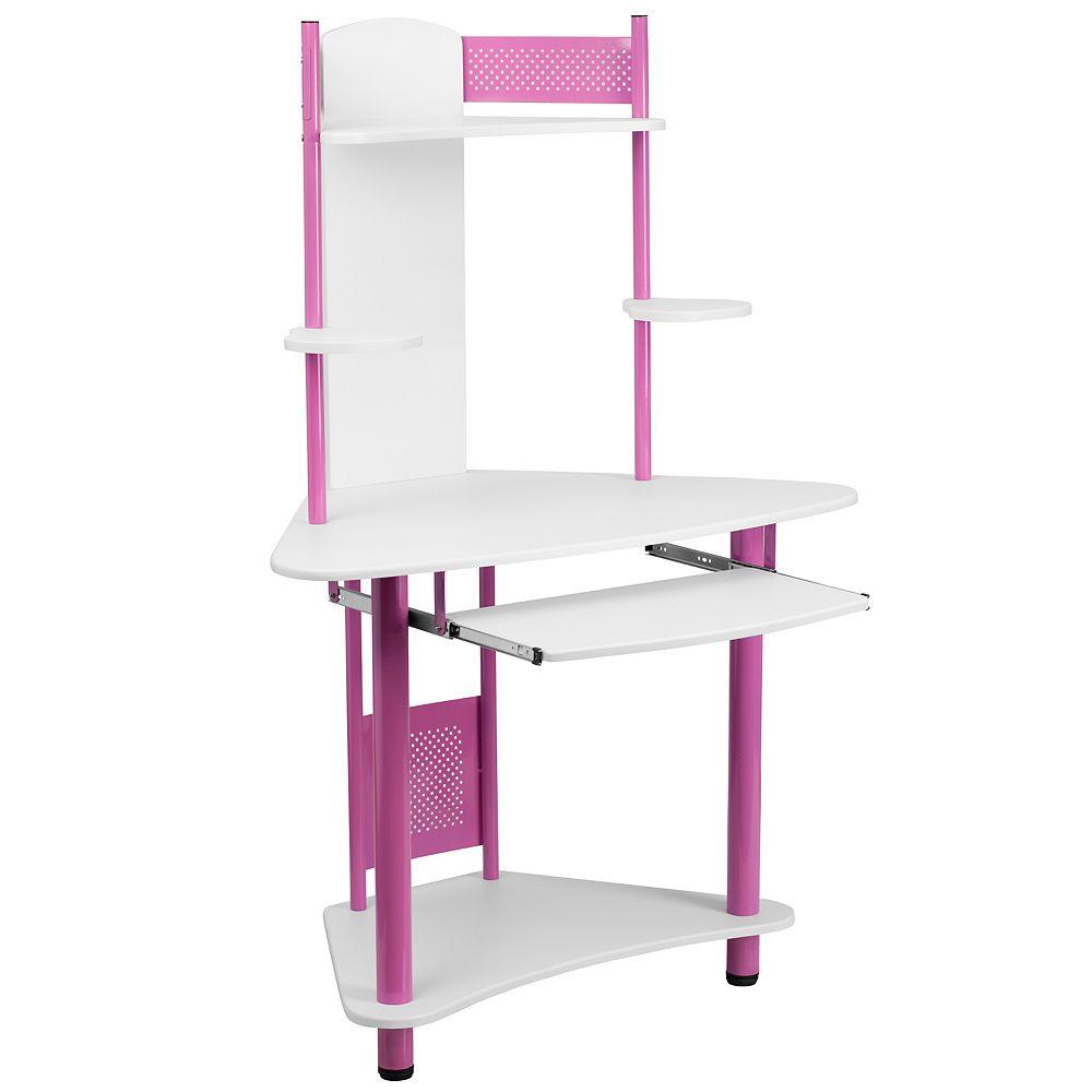 Flash Furniture Pink Corner Hutch Desk
