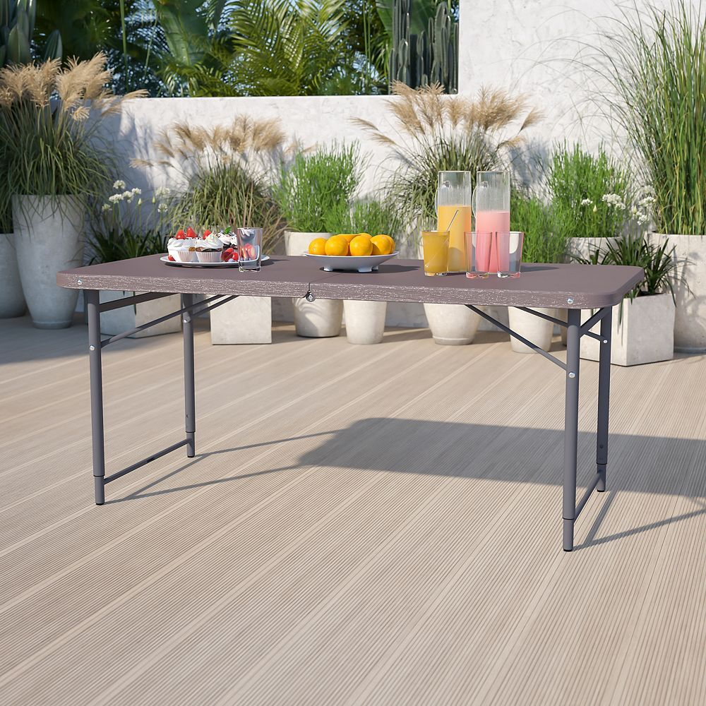 Flash Furniture 23.5x48.25 Brown Plastic Table