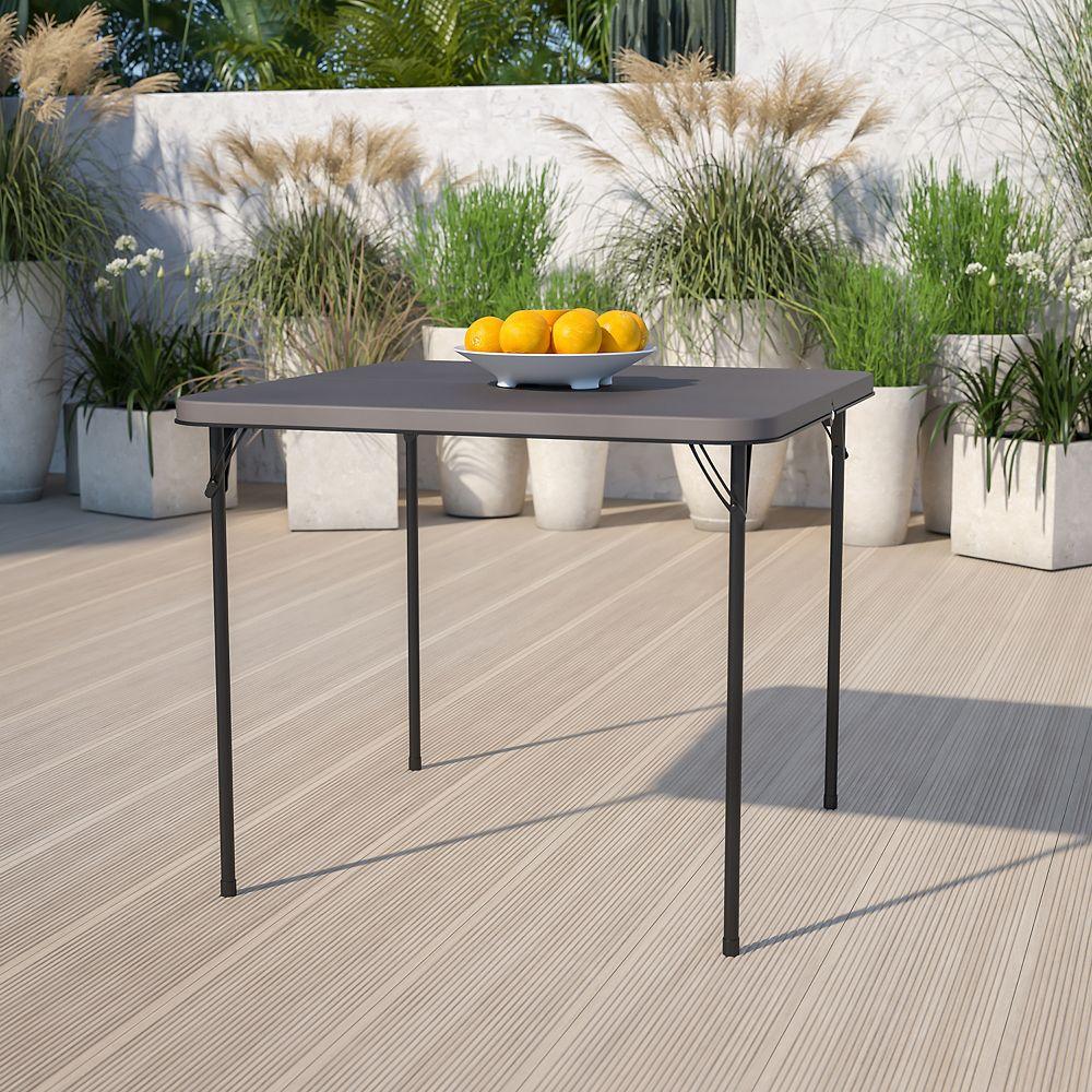 Flash Furniture 34SQ Gray Plastic Fold Table