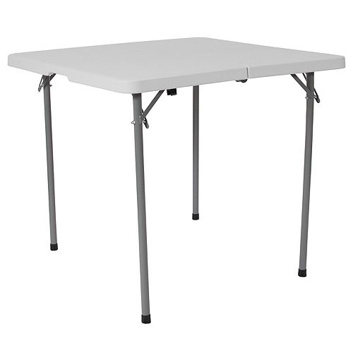 Table carrée pliante de 34 po en plastique blanc granite avec poignée de transport