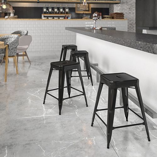 """24"""" Black No Back Metal Stool"""