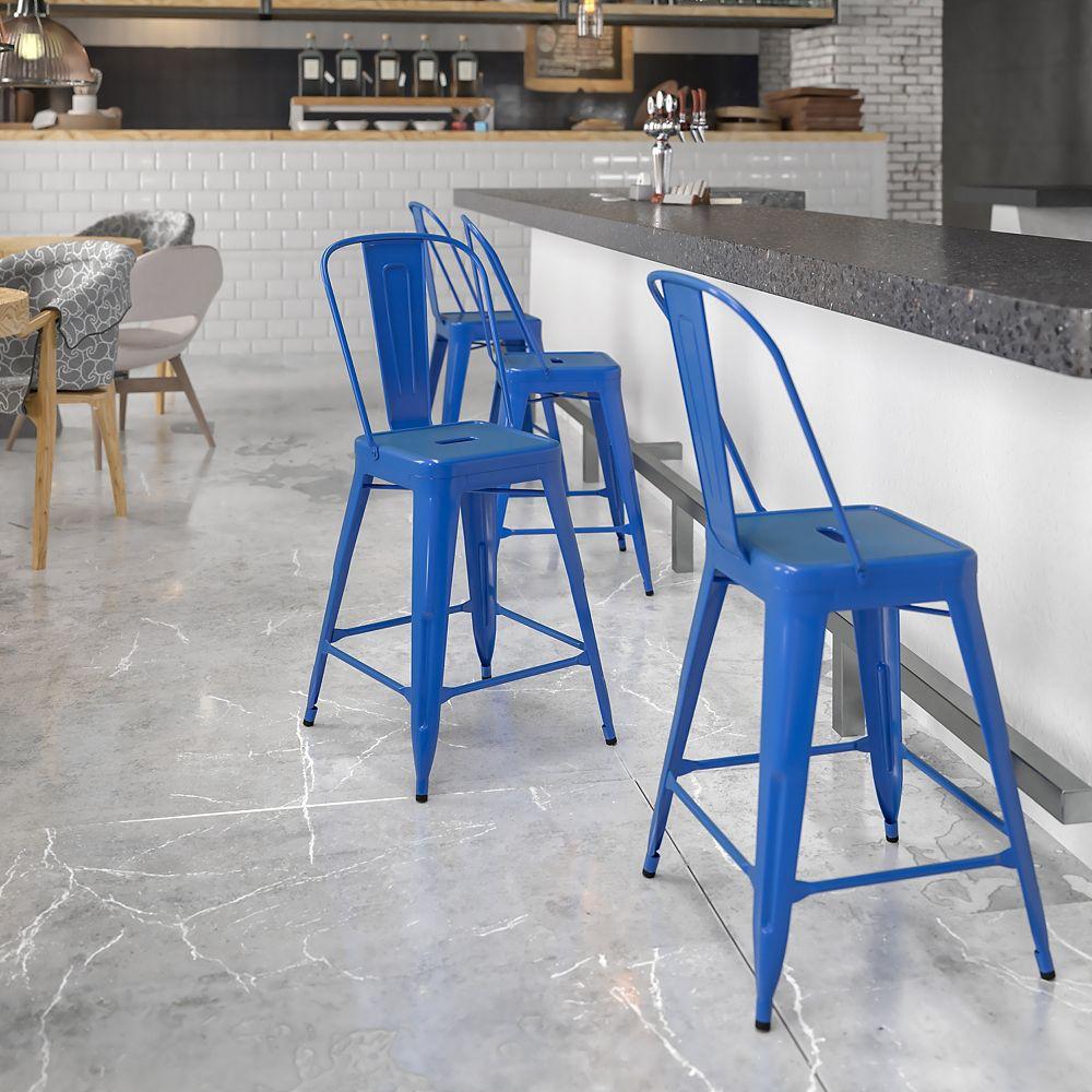 Flash Furniture Tabouret pour l'extérieur en métal bleu de 24 pouces