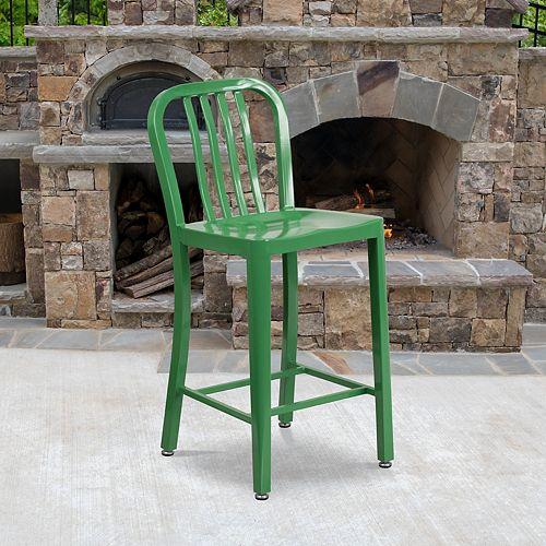 """""""24"""""""" Green Metal Outdoor Stool"""""""