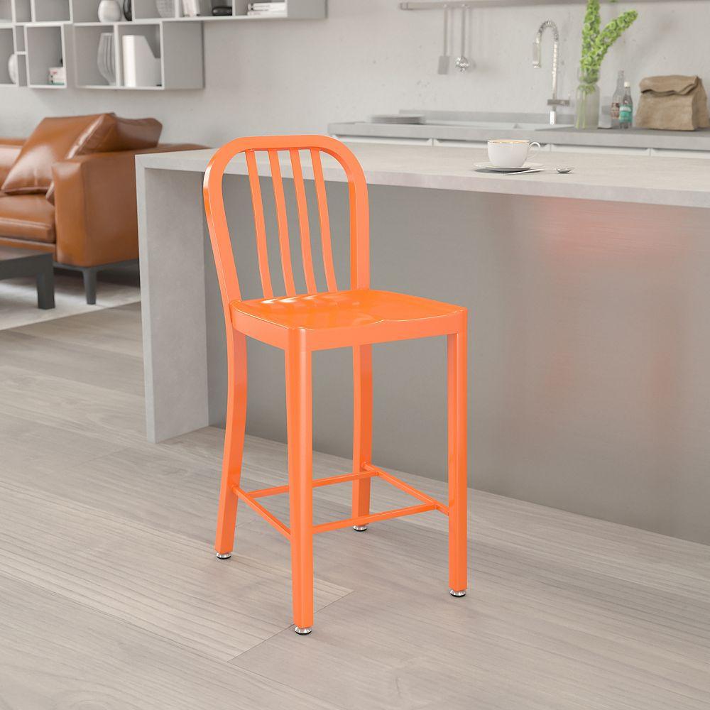 Flash Furniture Tabouret pour l'extérieur en métal orange de 24 pouces