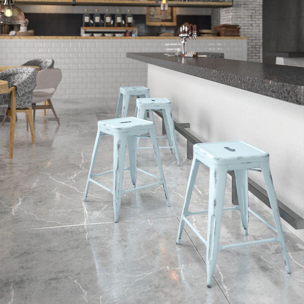 Flash Furniture Distressed Gn-Blue Metal Stool