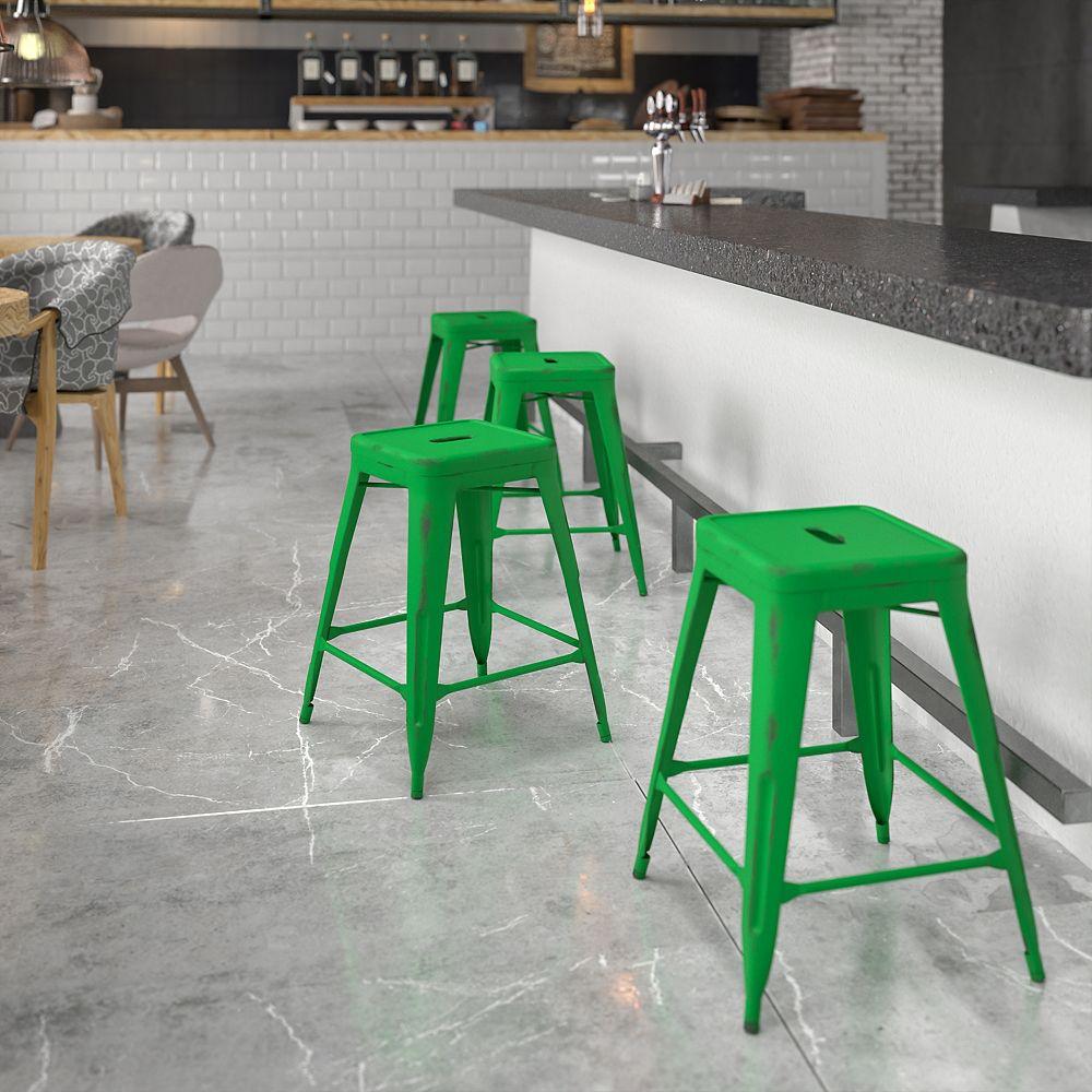 Flash Furniture Distressed Green Metal Stool