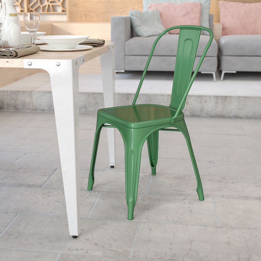 Flash Furniture Chaise empilable pour l'intérieur et l'extérieur en métal vert