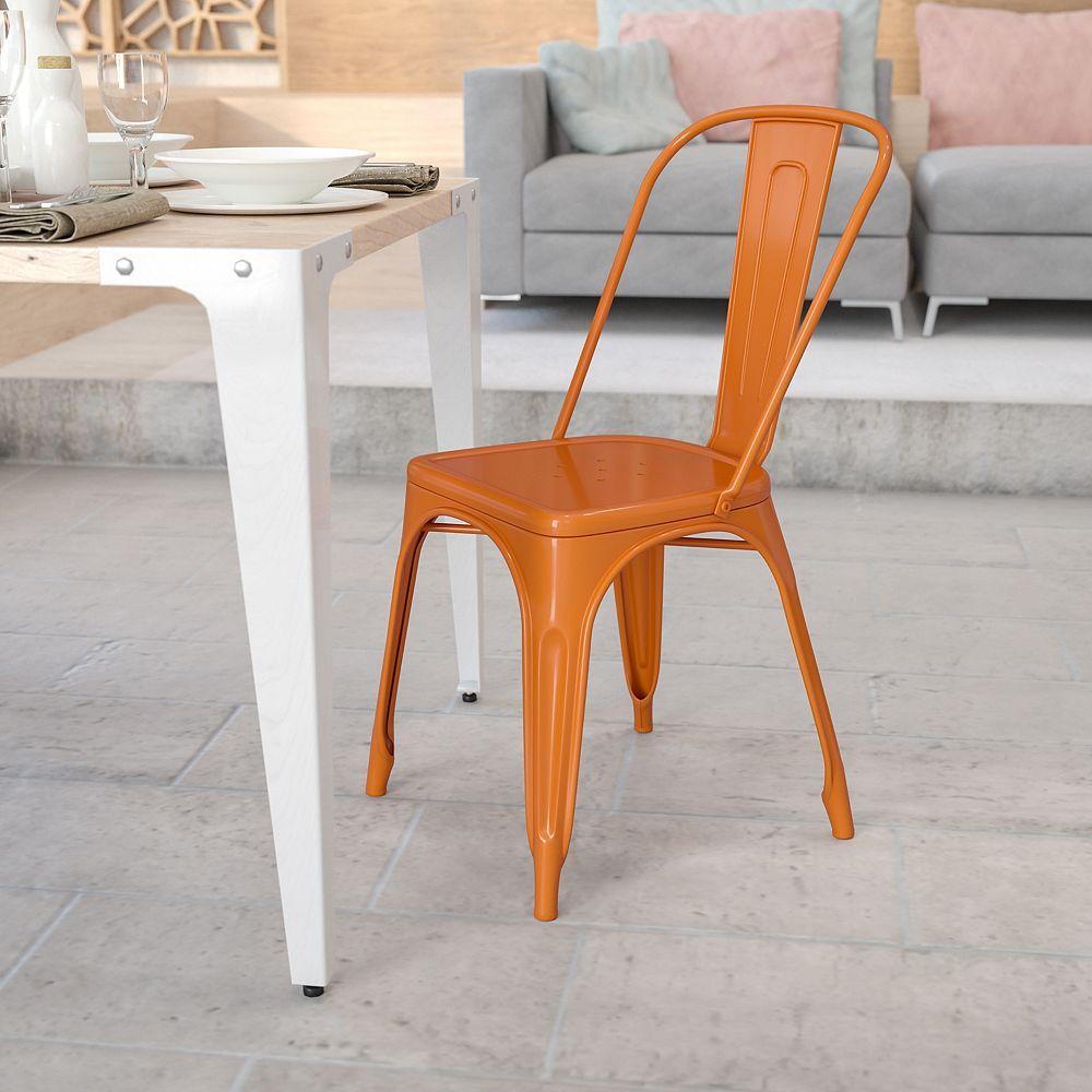 Flash Furniture Chaise empilable pour l'intérieur et l'extérieur en métal orange