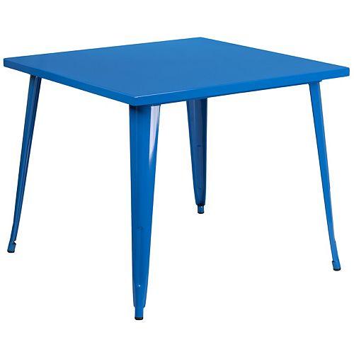35.5SQ Blue Metal Table
