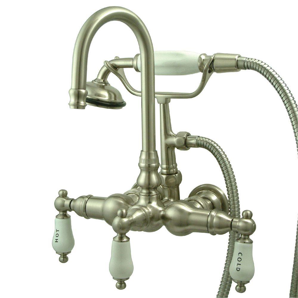 Kingston Brass 3-Handle Wall-Mount Claw Foot Tub Fa