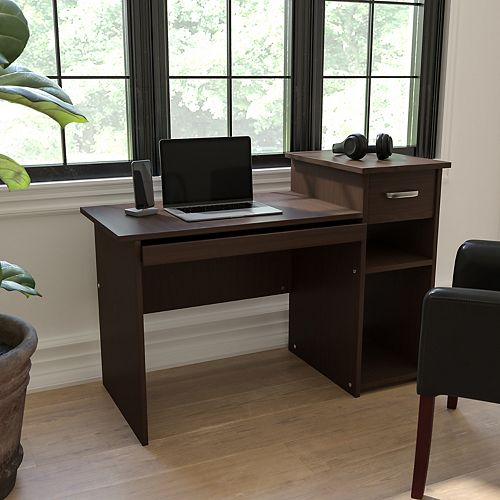 Espresso Desk with Shelves