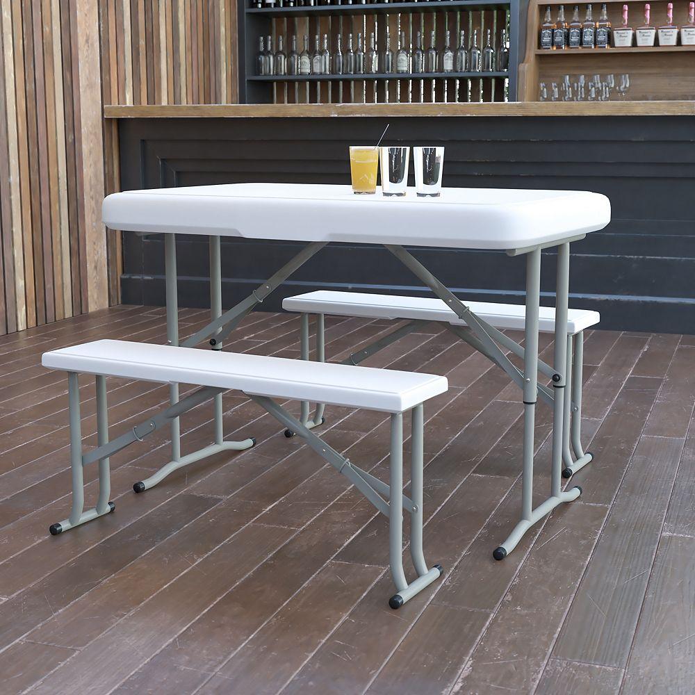 Flash Furniture White Plastic Fold Table/Bench