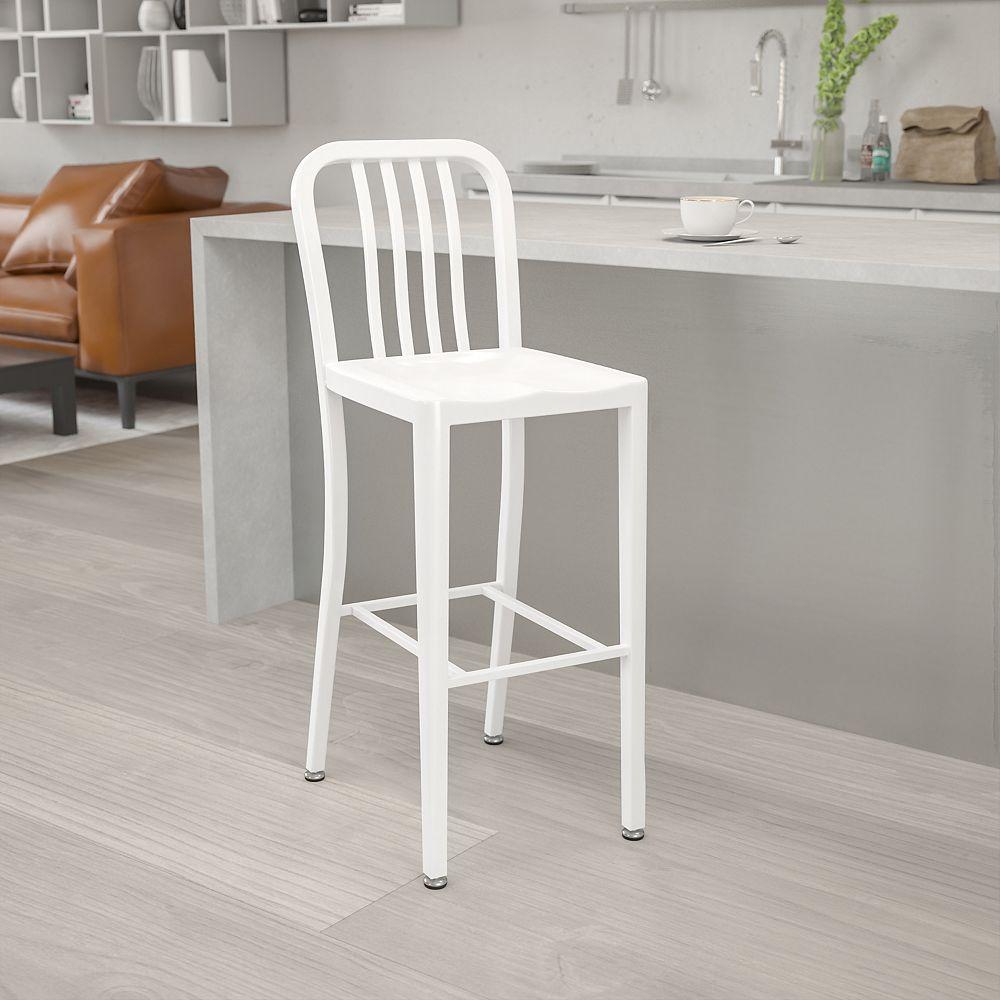 """Flash Furniture """"30"""""""" White Metal Outdoor Stool"""""""