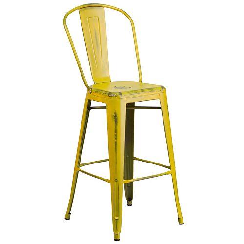 Distressed Yellow Metal Stool