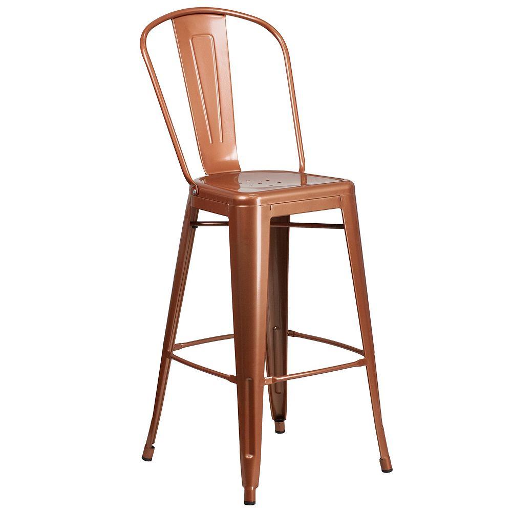 "Flash Furniture ""30"""" Copper Metal Outdoor Stool"""