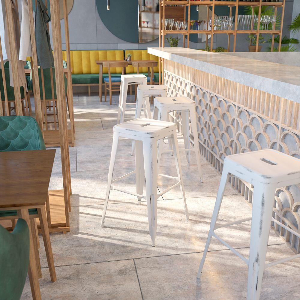 Flash Furniture Tabouret en métal vieilli blanc