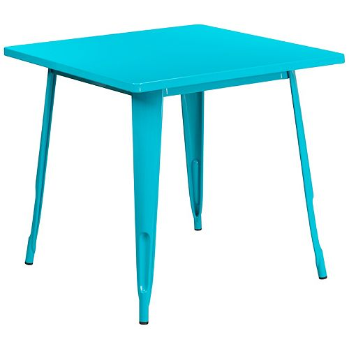 31.5SQ Teal-Blue Metal Table