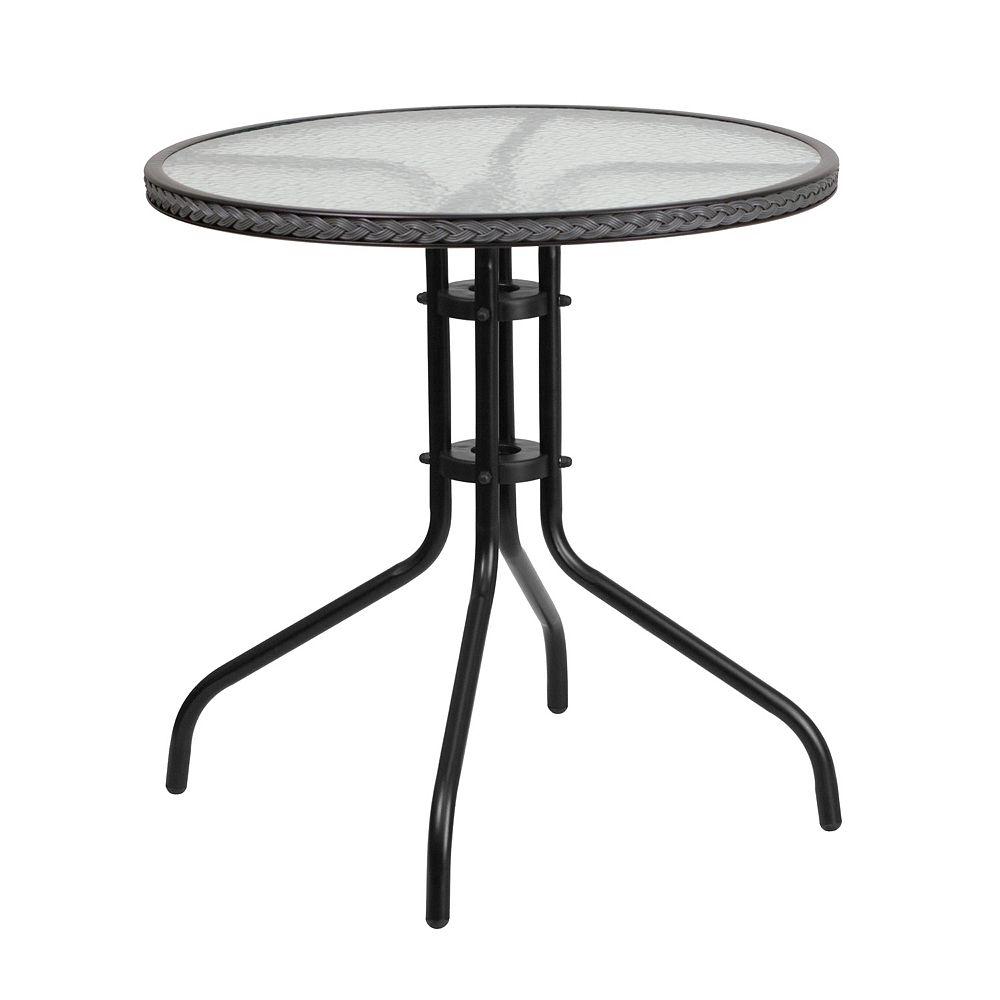 Flash Furniture 28RD Glass Table-GRY Rattan