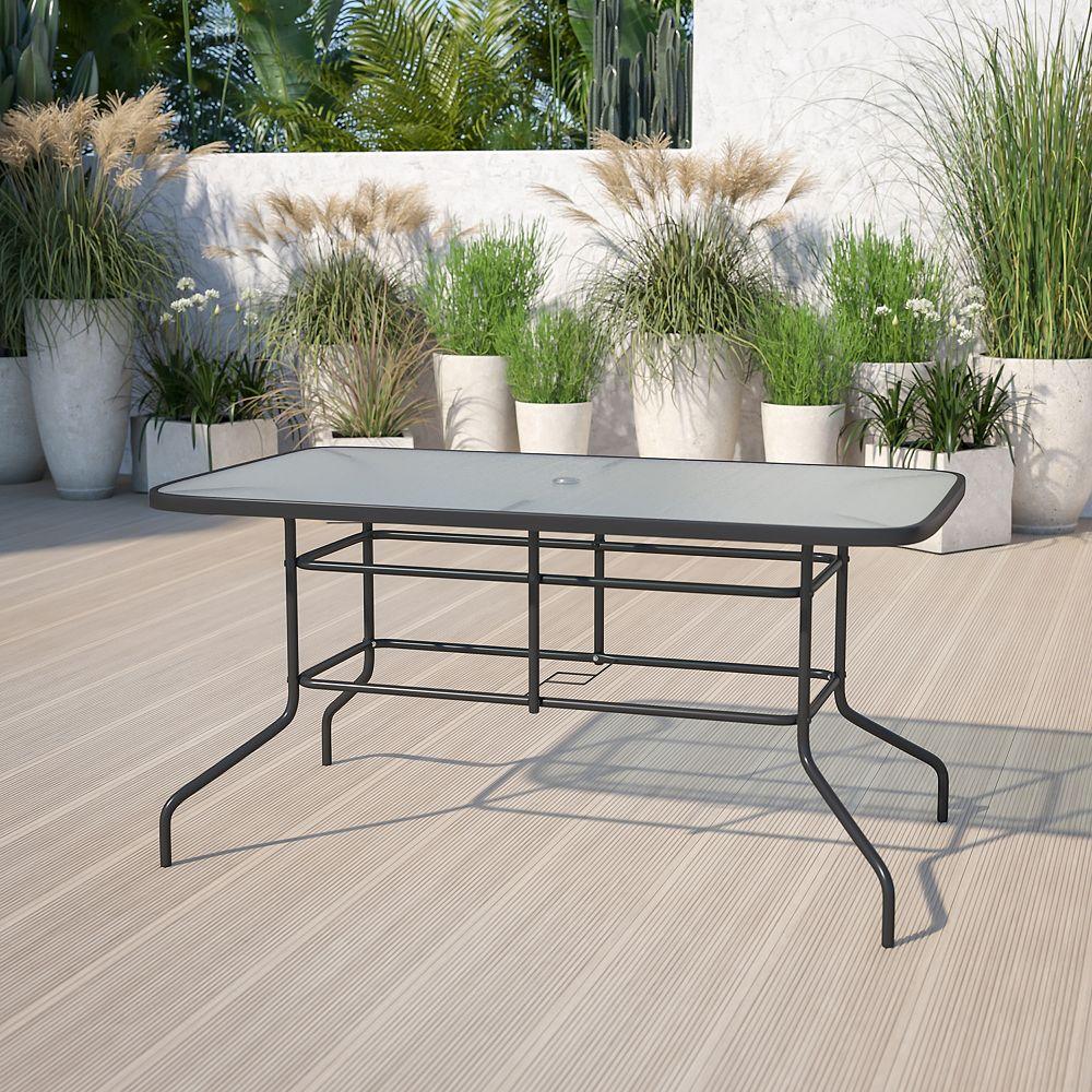 Flash Furniture Table rectangulaire en métal et verre trempé de 31,5 po x 55 po