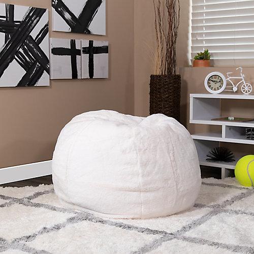 Small White Furry Kids Bean Bag Chair