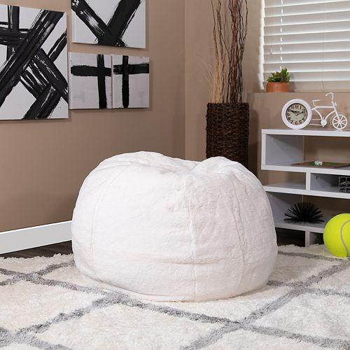 White Furry Bean Bag Chair