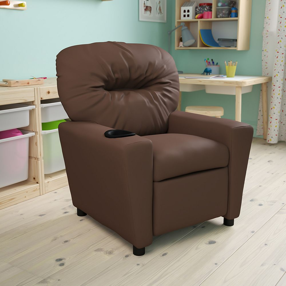 Flash Furniture Brown Leather Kids Recliner