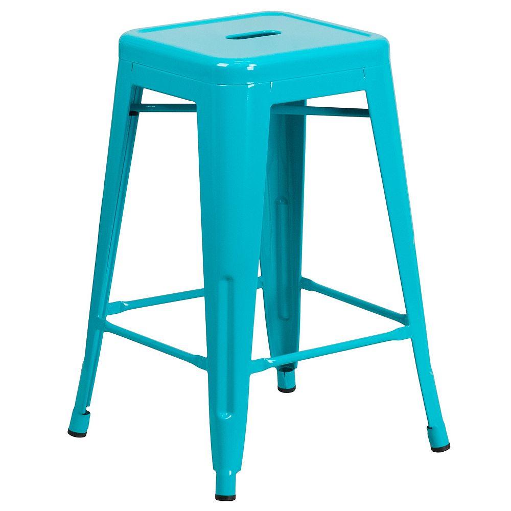 Flash Furniture Tabouret sans dossier en métal sarcelle de 24 po haut.