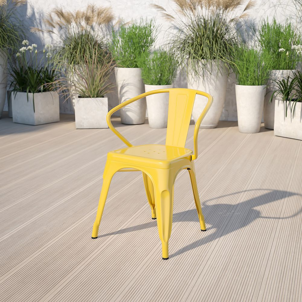Flash Furniture Yellow Metal Chair With Arms