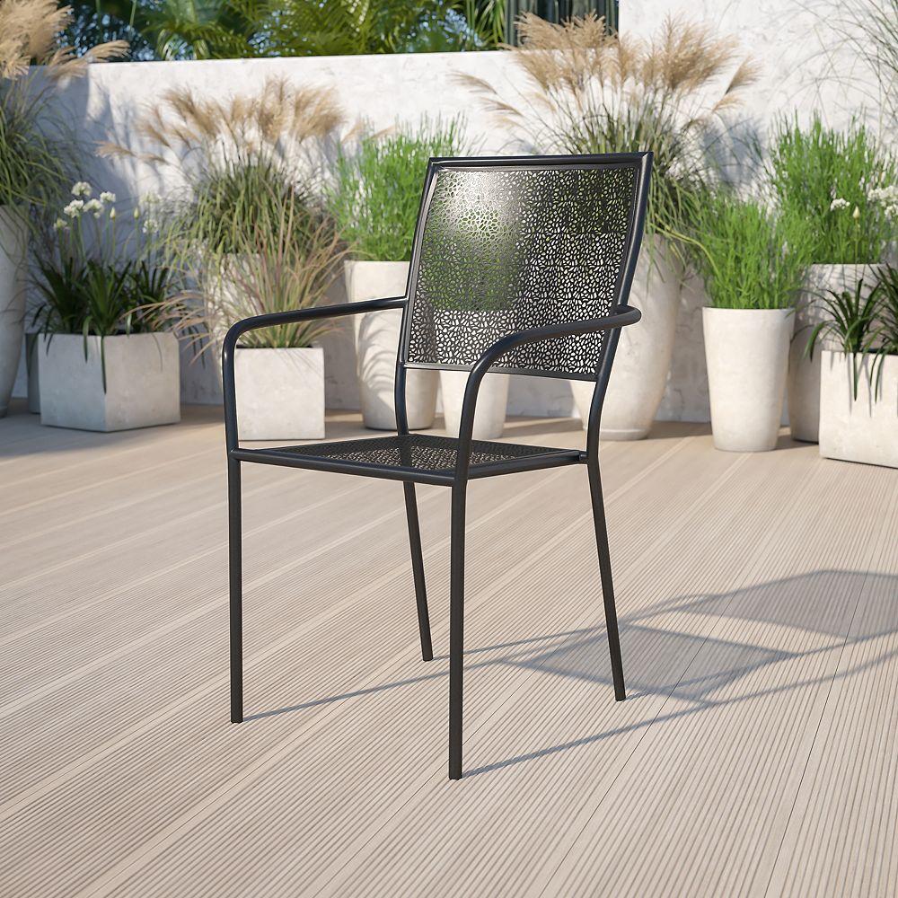 Flash Furniture Chaise de jardin en acier noir à dossier carré, intérieur-extérieur