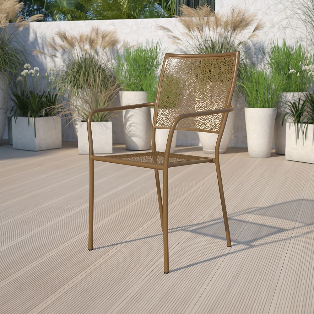 Flash Furniture Gold Square Back Patio Chair