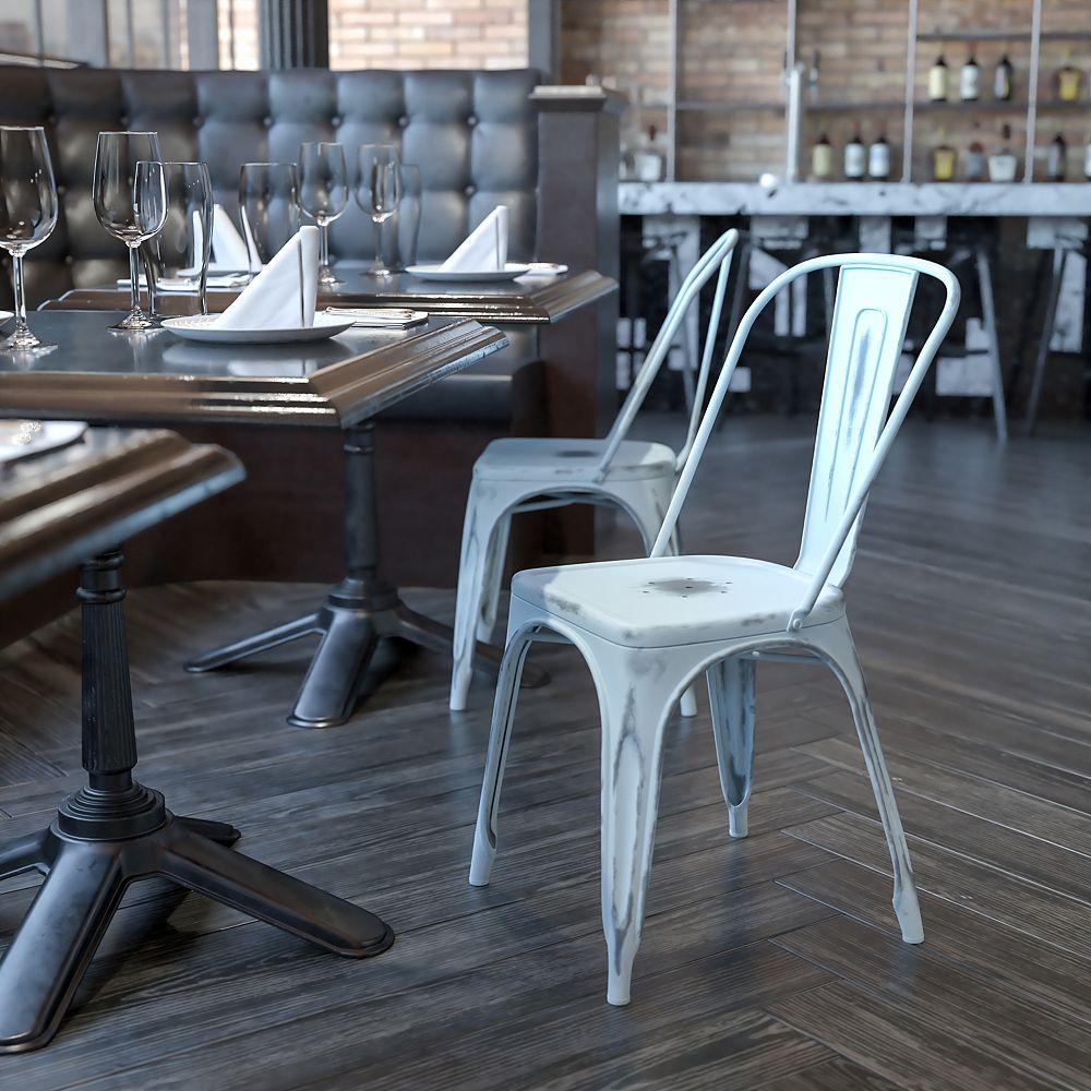 Flash Furniture Distressed Blue Metal Chair