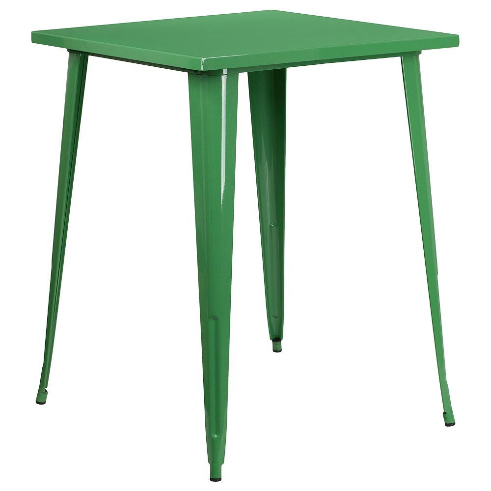 Flash Furniture 31.5SQ Green Metal Bar Table