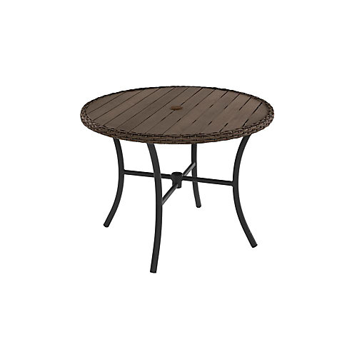 Laguna Point 38-inch Round Dining Table with Wicker Trim