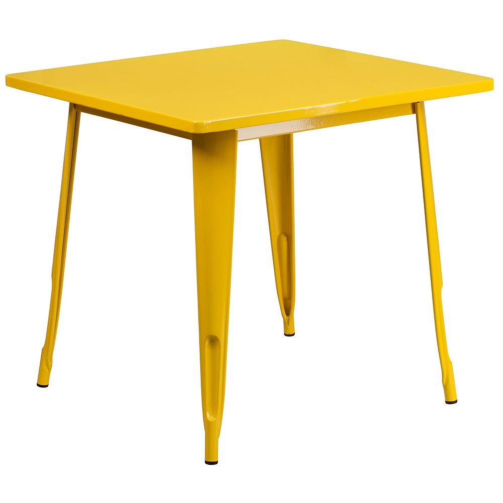 Flash Furniture 31.5SQ Yellow Metal Table