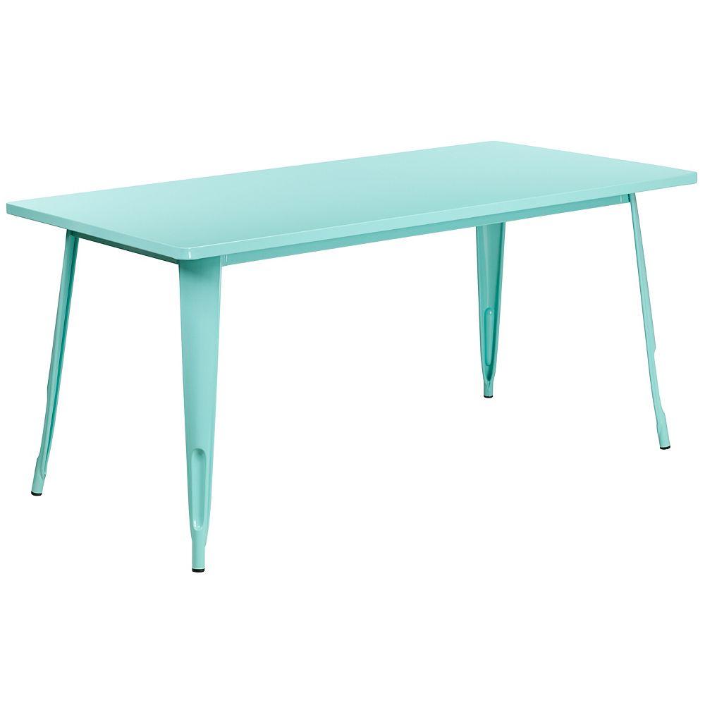Flash Furniture 31.5x63 Mint Green Metal Table