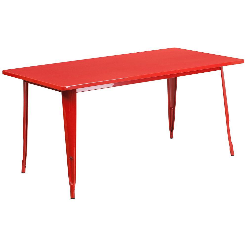 Flash Furniture 31.5x63 Red Metal Table