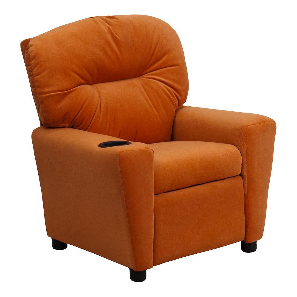 Flash Furniture Fauteuil inclinable contemporain pour enfants en microfibre orange avec porte-gobelet