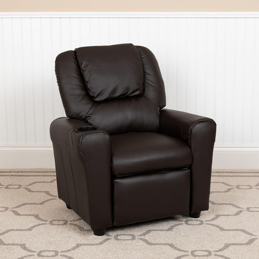 Flash Furniture Fauteuil inclinable contemporain pour enfants en cuir brun avec porte-gobelet et appui-tête