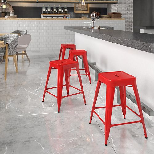 """24"""" Red No Back Metal Stool"""