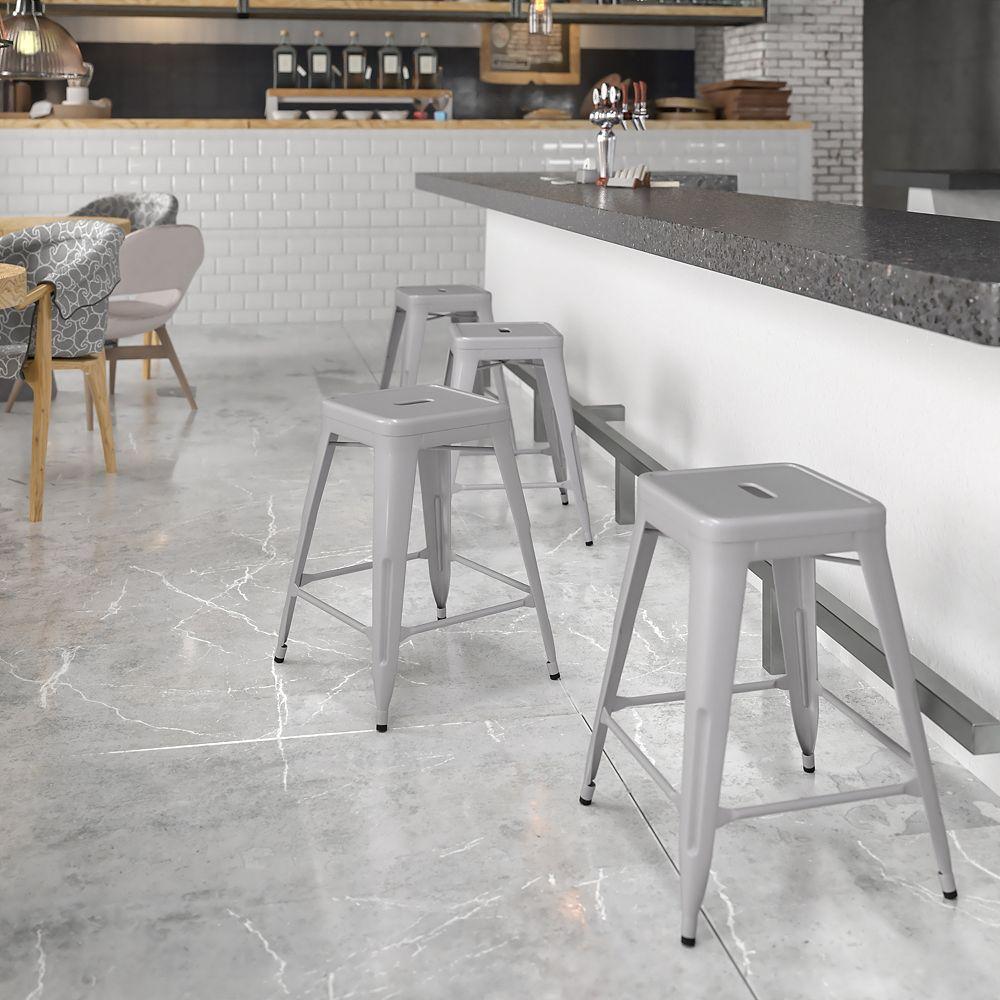 Flash Furniture Tabouret sans dossier en métal argenté de 24 po haut.