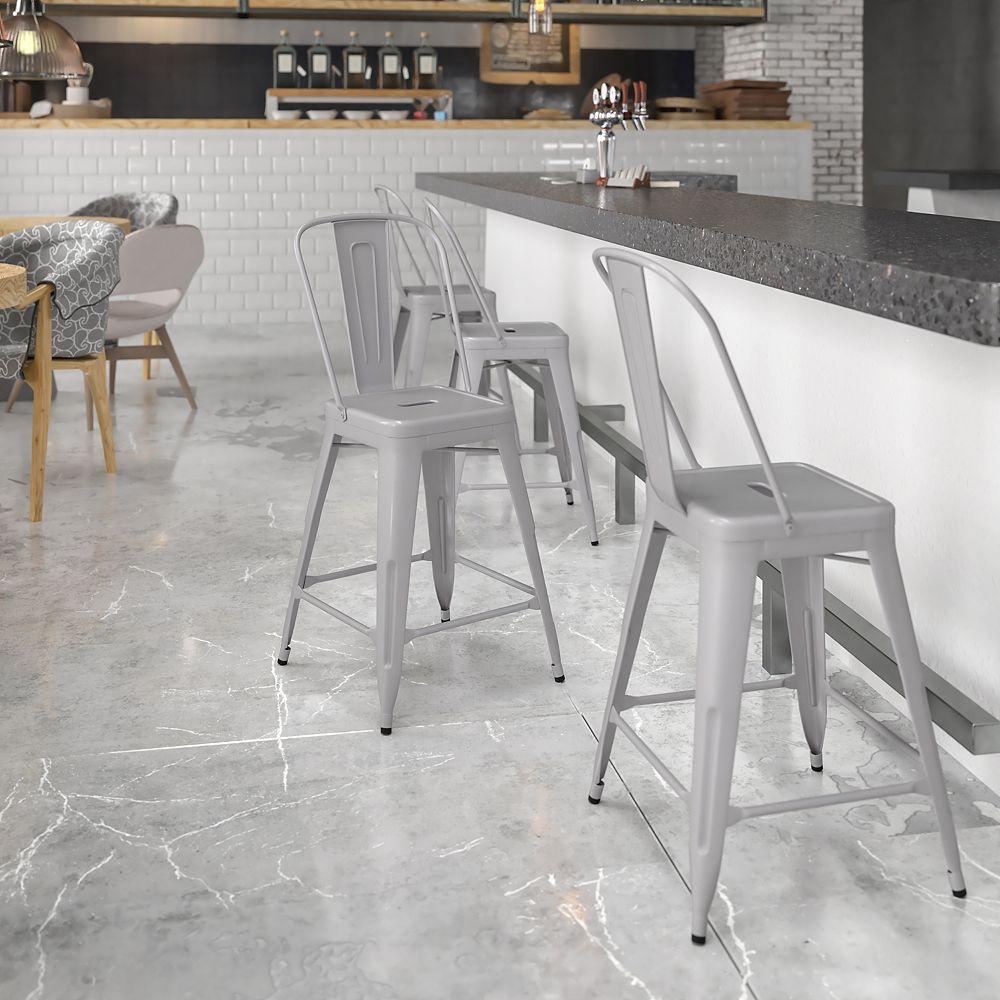 Flash Furniture Tabouret pour l'extérieur en métal argenté de 24 pouces