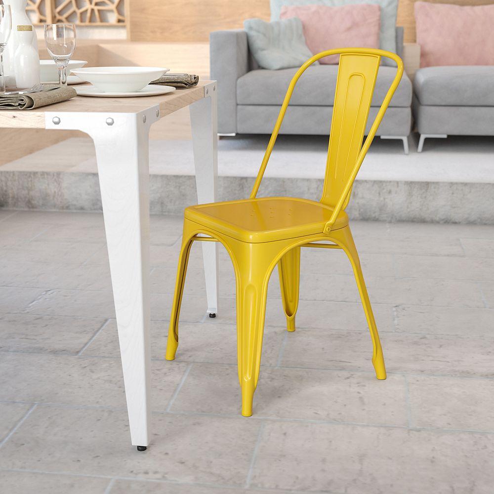 Flash Furniture Chaise empilable pour l'intérieur et l'extérieur en métal jaune